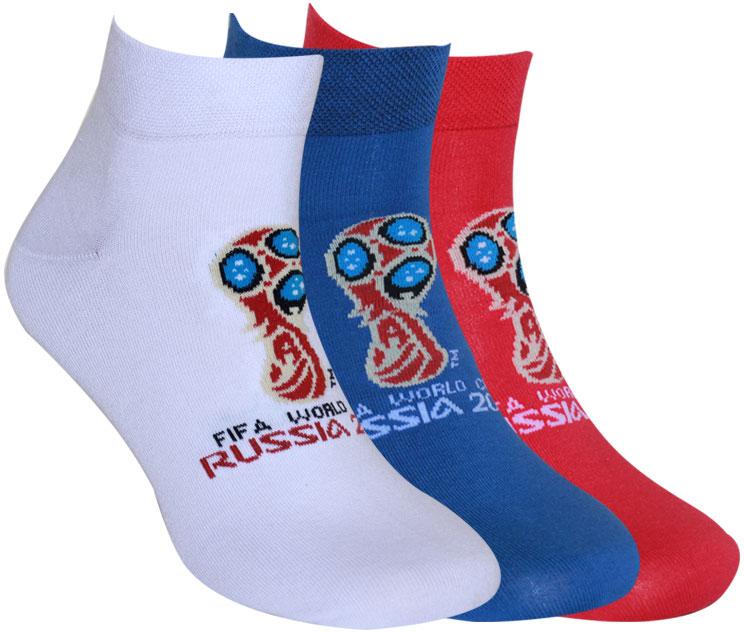 Носки FIFA, цвет: белый, синий, красный, 3 пары. WF220. Размер 42/44