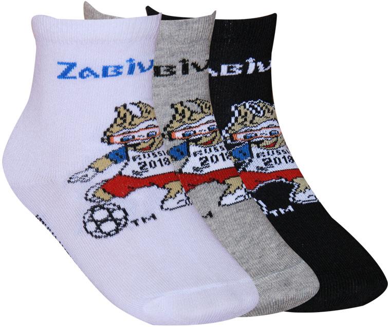 Носки детские FIFA, цвет: белый, светло-серый, черный, 3 пары. WF442. Размер 22 носки детские fifa цвет белый синий красный 3 пары wf441 размер 18