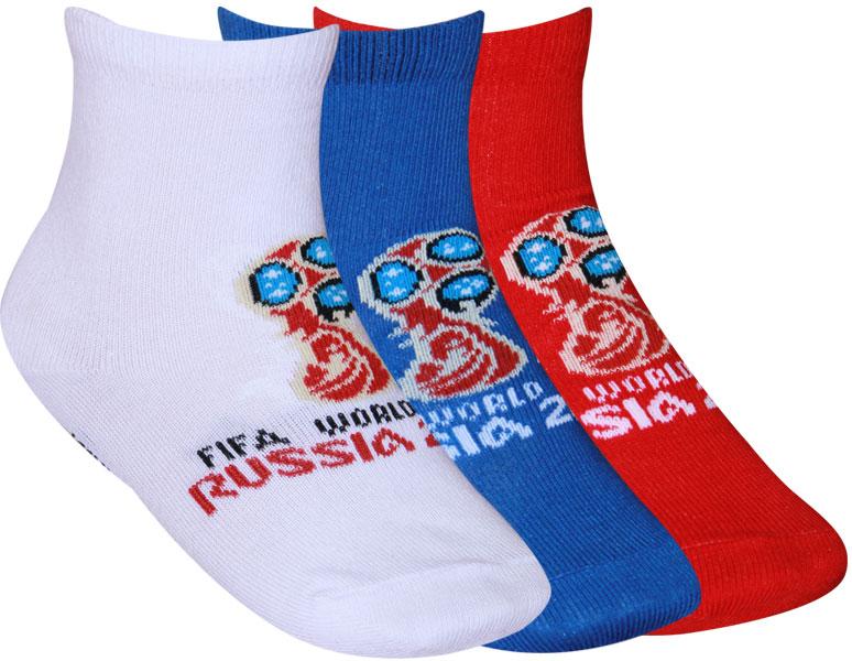 Носки детские FIFA, цвет: белый, синий, красный, 3 пары. WF401. Размер 33/35 секачева к ред zлой медик тень медработника