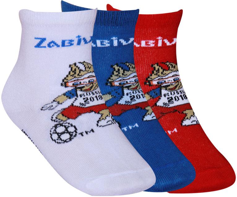Носки детские FIFA, цвет: белый, синий, красный, 3 пары. WF441. Размер 22
