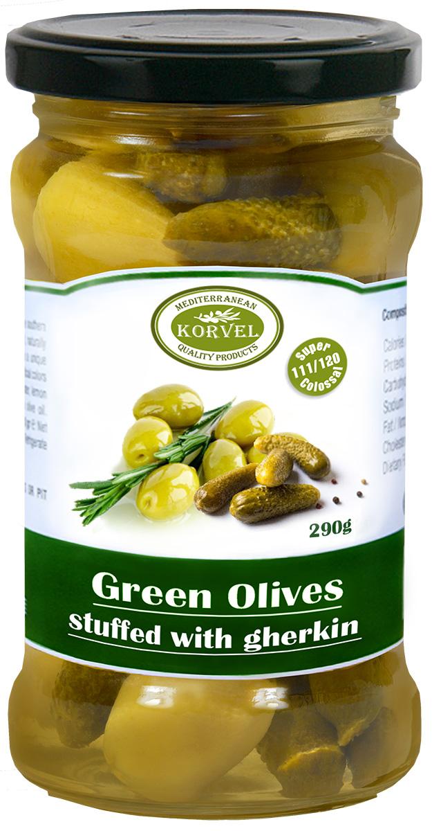 Korvel Натуральные зеленые оливки фаршированные корнишонами супер колоссал, 290 г korvel натуральные зеленые оливки фаршированные миндалем супер колоссал 290 г
