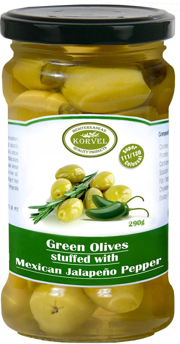 Korvel Натуральные зеленые оливки фаршированные перцем халапеньо супер колоссал, 290 г korvel натуральные зеленые оливки фаршированные чесноком колоссал 290 г