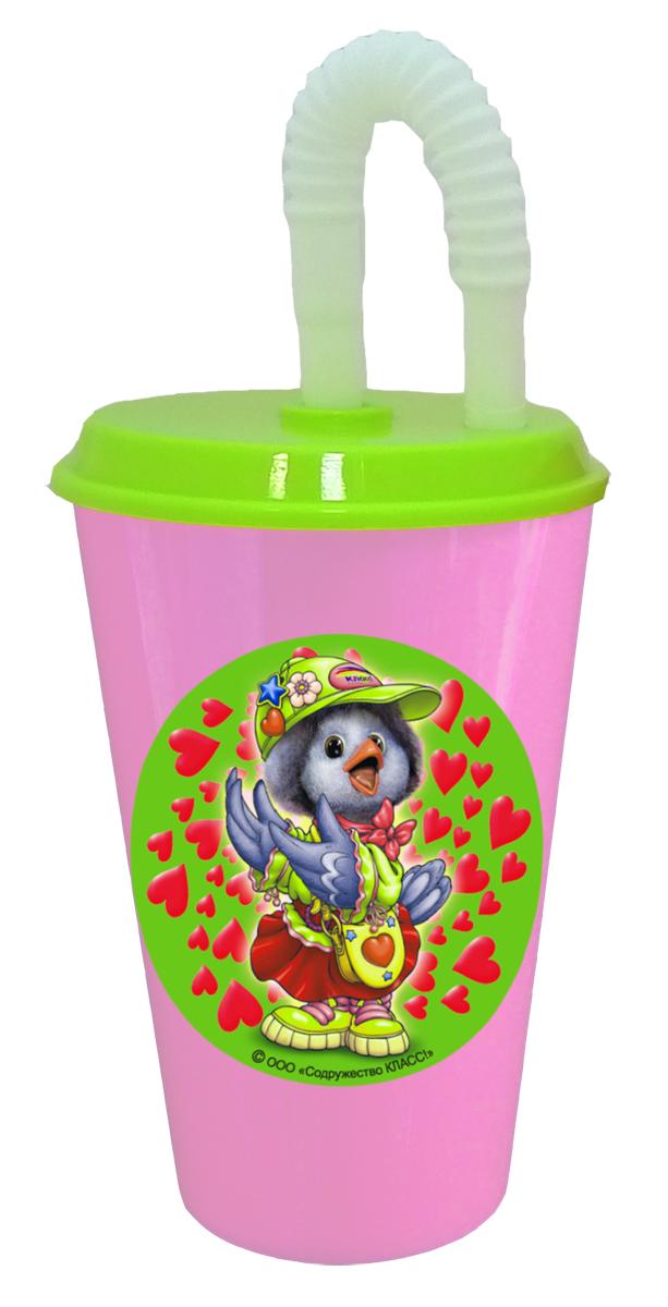 Бокал из пищевого пластика 500 мл с трубочкой и крышкой. Дизайн с персонажами известных детских телепередач (Каркуша с сердечками). Произведено в России. Безопасно для ребенка. Мыть теплой водой с губкой и жидким мылом. Не рекомендуется ставить в СВЧ печь и мыть в посудомоечной машине.
