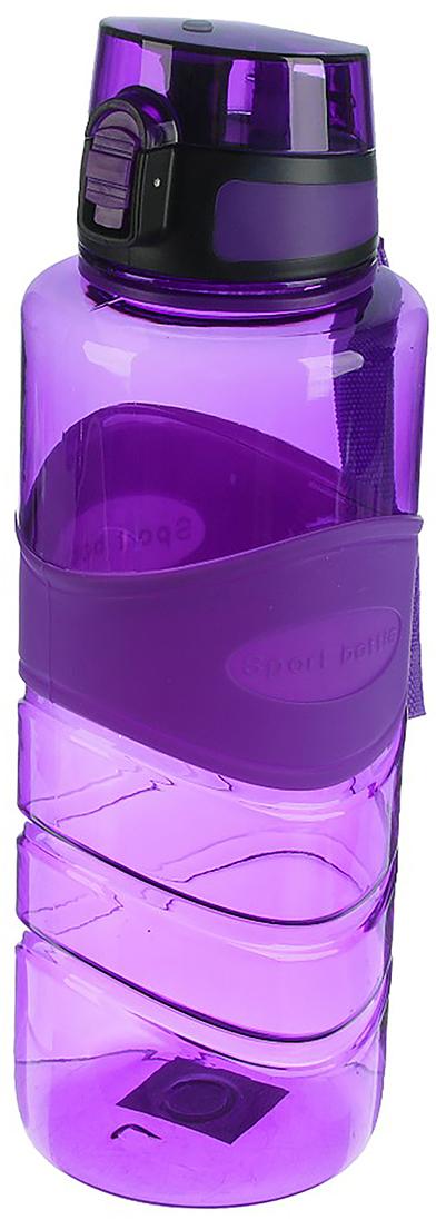 Бутылка спортивная Ромбик, на браслете, цвет: фиолетовый, 1,5 л бутылка гантеля спортивная irontrue цвет зеленый 2 2 л