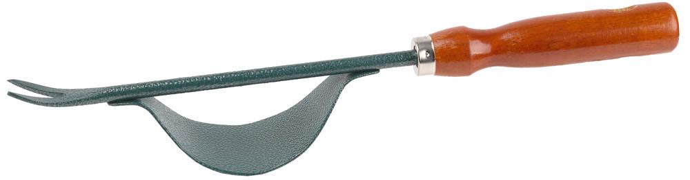 Используется для удаления сорняков с развитой стержневой корневой системой. Рукоятки изготовлены из первосортной древесины, отполированы и оснащены отверстием для удобства хранения. Рабочая часть изготовлена из высококачественной углеродистой стали с покрытием Нammertone надежно защищает изделие от коррозии. Размер: 340 мм.