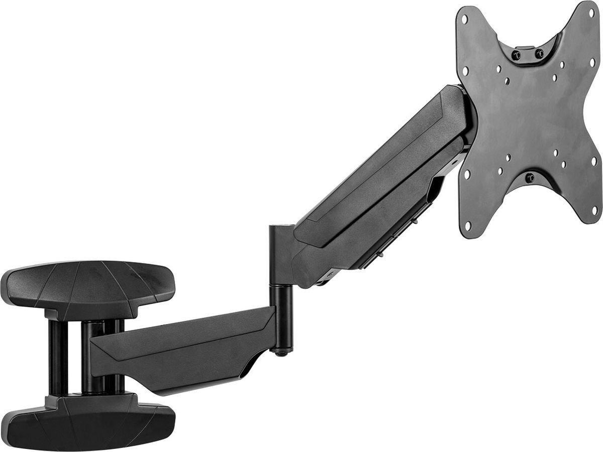 Fellowes FS-80435, Black кронштейн для монитораFS-80435Идеальное решение для крепления монитора или ТВ к стене в небольших помещениях, возможно крепление в труднодоступных местах. •Технология газлифт позволяет надежно фиксировать монитор в нужном положении. Система крепления кабелей помогает минимизировать помехи.Поддерживаемые стандарты VESA 75х75, 100х100, 200х200, 100х200 мм •Угол поворота +/-90° •Угол наклона +5/-15 ° •Максимальная нагрузка на крепление 30 кг •Максимальная диагональ ТВ 42  / 106,68 см •Регулировка по высоте – макс. 28 см •Максимальное расстояние от стены – 56 см •Гарантия 3 года