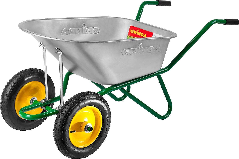 Тачка садово-строительная Grinda, двухколесная, 90 л, грузоподъемность 180 кг96066Тачка GRINDA применяется для транспортирования различных грузов во время проведения строительных и садовых работ. Отличается прочной конструкцией, большой грузоподъемностью, хорошей маневренностью и долговечностью. Модель оснащена стальными подшипниками. Cстальной кузов толщиной 0,7 мм и объемом 90 л для сыпучих грузов имеет цинковое покрытие, обеспечивающее защиту тачки от внешних воздействий. Cстальная рама из цельногнутой трубы диаметром 28 мм поддерживает кузов снизу и обеспечивает высокую грузоподъемность тачки. Две фронтальные подпорки надежно поддерживают кузов тачки спереди, обеспечивая его сохранность при перевалке тяжелых грузов. Опора из стальной трубы диаметром 25 мм надежно поддерживает кузов тачки, обеспечивая высокую грузоподъемность. Резиновые пневматические колеса диаметром 360 мм, со стальным ободом и на стальных подшипниках, обеспечивают легкое передвижение по неровной поверхности и отличную маневренность. Грузоподъемность тачки - 180 кг.