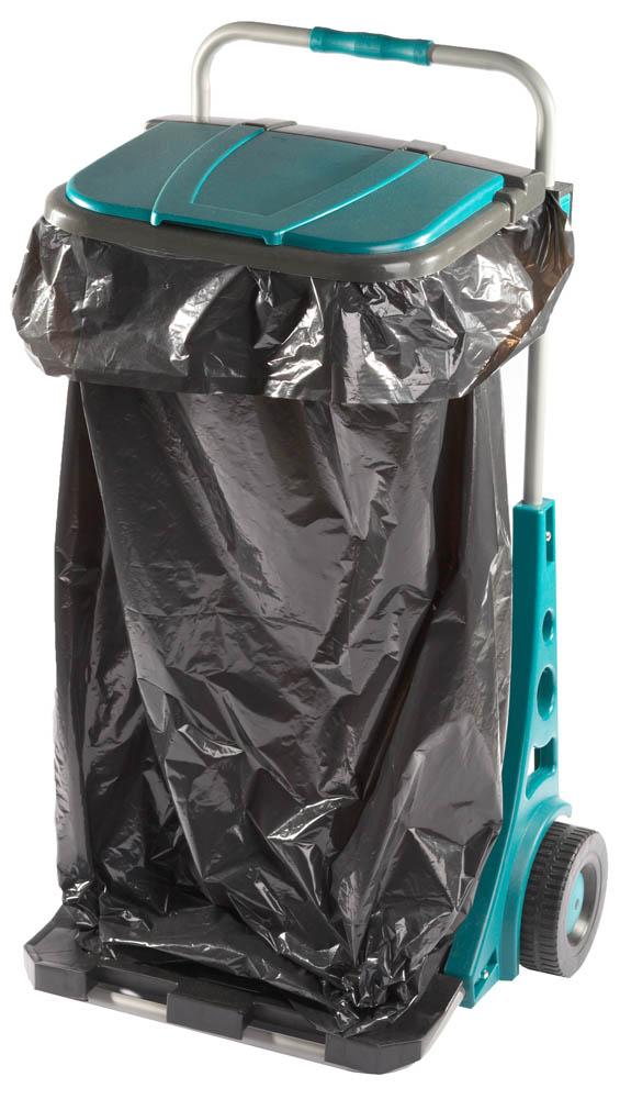 Тележка садовая Raco, с мешком на 120 л45267Тележка садовая Raco предназначена для сбора и транспортировки садового мусора, сорняков, скошенной травы и бытового мусора. Конструкция тележки позволяет регулировать высоту держателя мешка, а также снять его в случае необходимости. С помощью специальныхопор, держатель мешка можно закрепить на стене.Большие прочные колеса оснащены специальным покрытием для щадящего перемещения тележки по газону.Высота: 90 см.Максимальный переносимый вес: 50 кг.