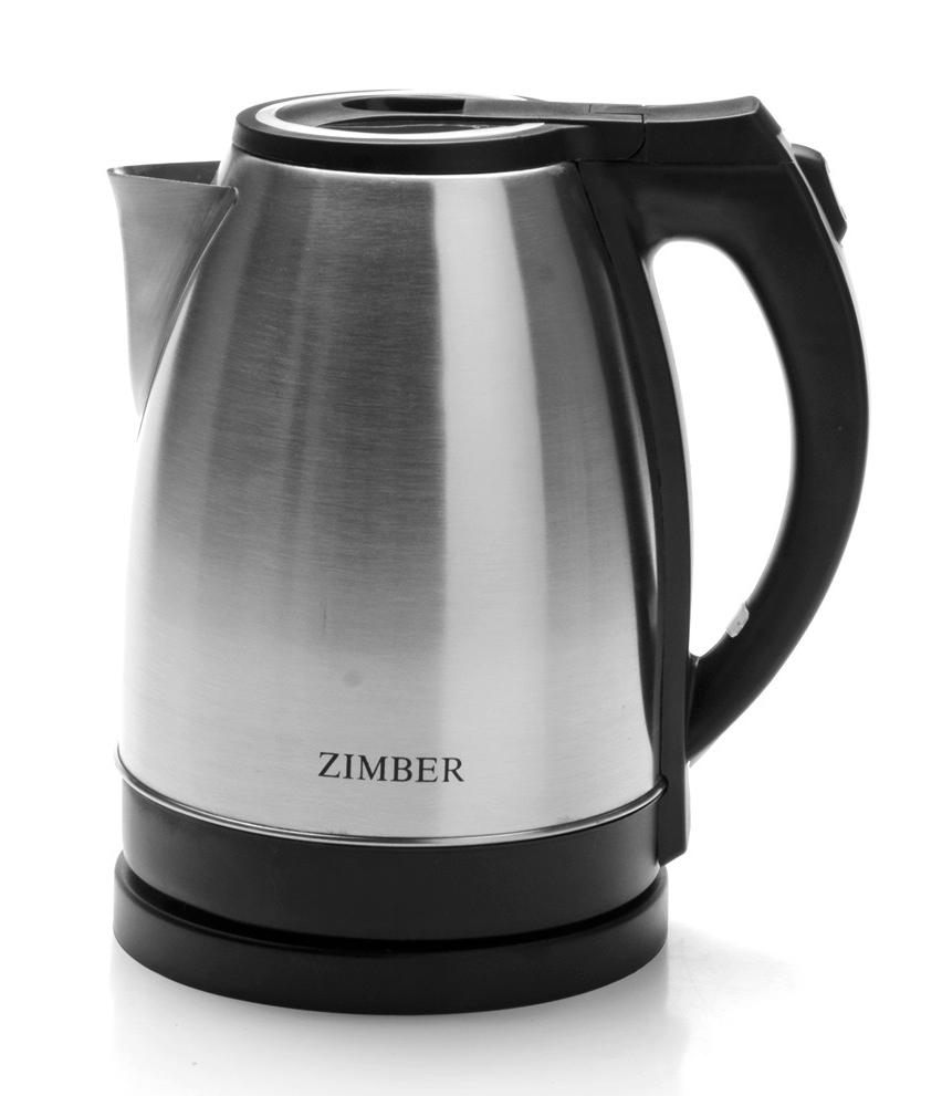 Zimber ZM-11066 электрический чайник11066Быстро вскипятить воду и поддерживать ее горячей в течение долгого времени Вам поможет чайник Zimber. На рынке бытовой техники этот прибор пользуется неизменной популярностью благодаря высокому качеству, безопасности и удобству в использовании. Чайник оснащен скрытым нагревательным элементом, что очень удобно – он более долговечен, чем спираль, и не подвержен образованию накипи. Чайник имеет световую индикацию включения, съемный фильтр от накипи и возможность вращения на базе на 360 градусов. Для безопасного использования в чайниках Zimber предусмотрены функции автоматического отключения при отсутствии воды или открытии крышки, а также встроенная защита от перегрева. Стильный современный дизайн чайника несомненно впишется в интерьер любой кухни!