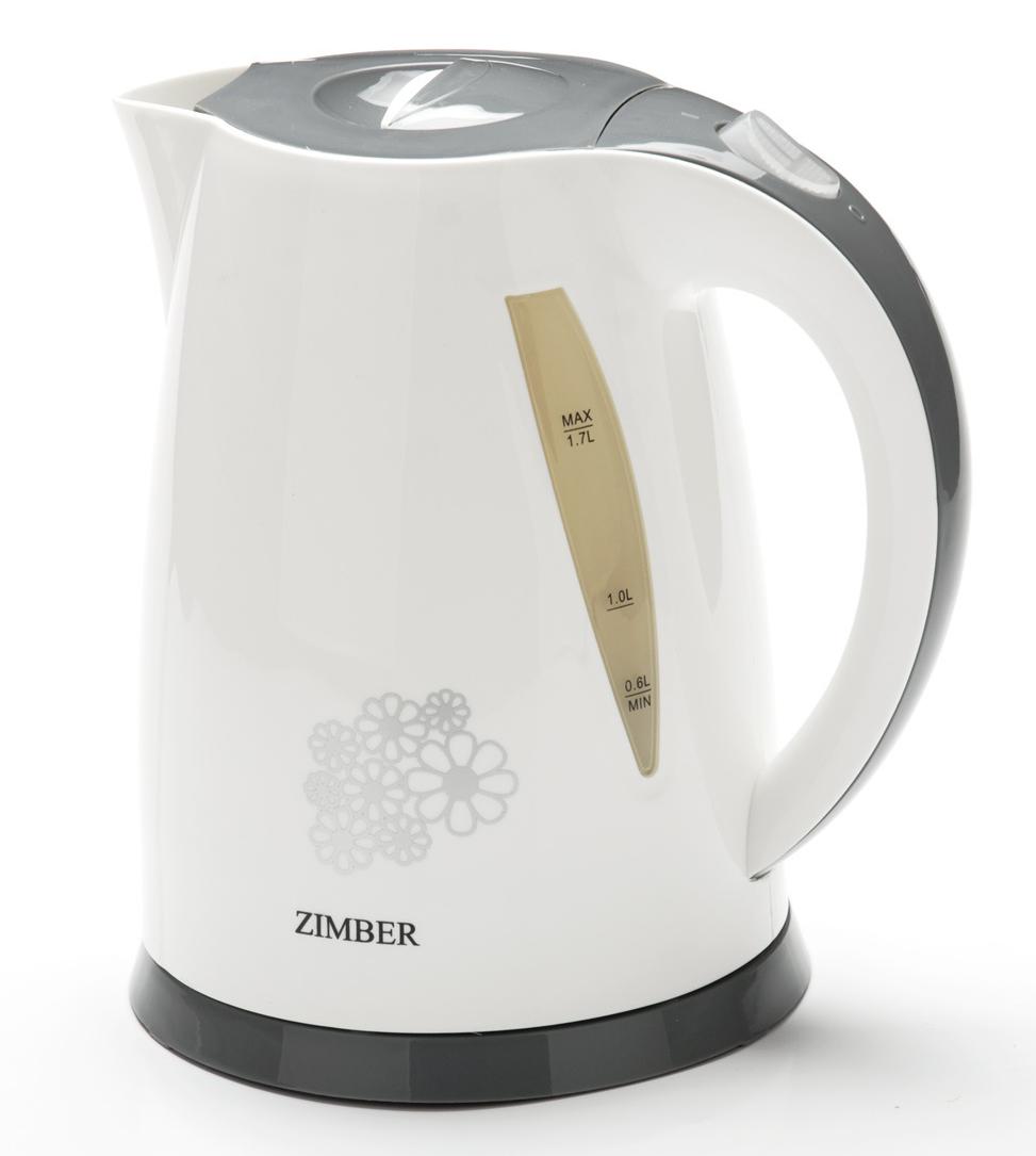 Zimber ZM-11074 электрический чайник11074Корпус электрического чайника Zimber выполнен из качественного полипропилена. Благодаря большой мощности чайник за считанные минуты вскипятит воду. На корпусе чайника имеется шкала контроля уровня воды, что позволяет следить за процессом нагрева. Чайник соединен с базой центральным контактом и легко вращается на 360°C градусов. Крышка чайника открывается автоматически от легкого нажатия на кнопку. Нагревательный элемент чайника встроен в плоское дно и надежно защищен стальной пластиной, что делает его чистку максимально удобной. Корпус чайника белого цвета и декорирован небольшим цветочным орнаментом, основание, крышка и ручка чайника - серого цвета. Среди характеристик безопасности использования чайника стоит отметить автоматический и ручной выключатель, а также защиту от перегрева.