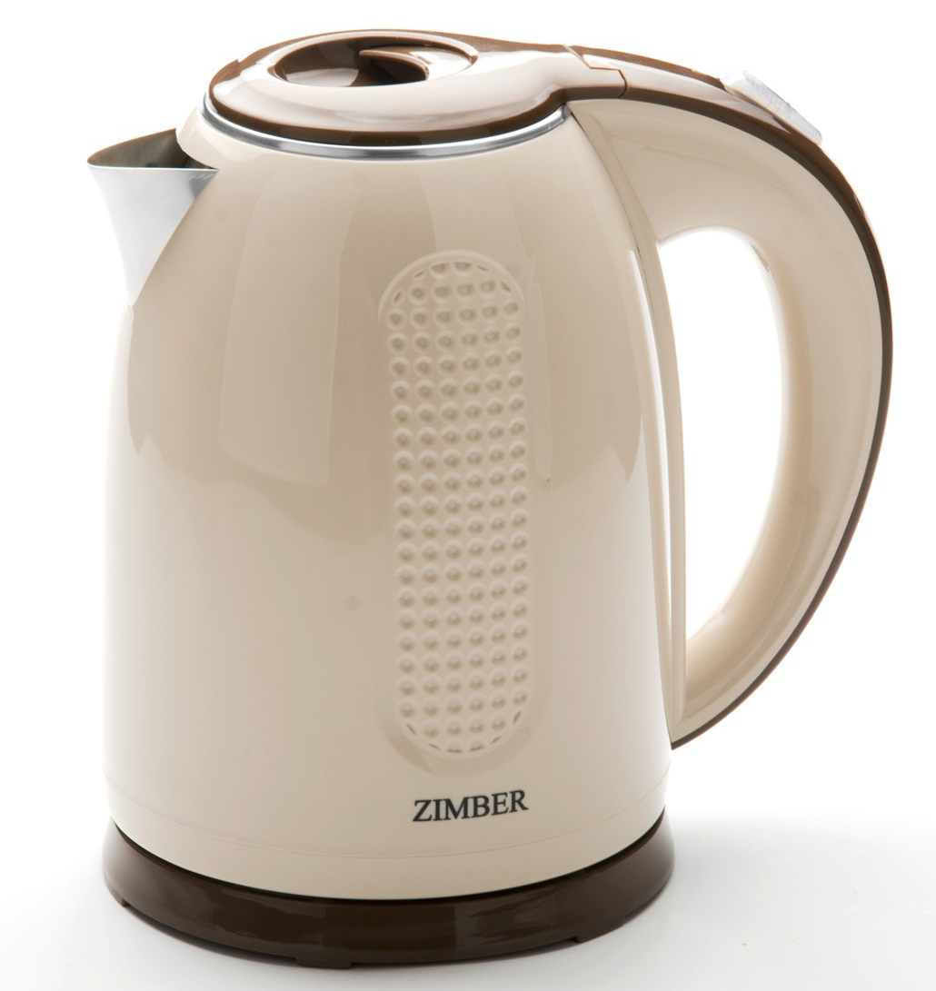 Zimber ZM-11076 электрический чайник11076Корпус электрического чайника Zimber выполнен из качественного термостойкого пластика, носик чайника сделан из нержавеющей стали. Благодаря большой мощности чайник за считанные минуты вскипятит воду. Чайник соединен с базой центральным контактом и легко вращается на 360°C градусов. Крышка чайника открывается от легкого нажатия на клавишу. Нагревательный элемент чайника встроен в плоское дно и надежно защищен стальной пластиной, что делает его чистку максимально удобной. Также чайник имеет съемный и моющийся фильтр. Корпус чайника бежевого цвета декорирован рельефной вертикальной полосой, крышка, ручка и подставка - коричневого цвета. Среди характеристик безопасности использования чайника стоит отметить автоматический и ручной выключатель, систему защиты от кипячения без воды и защиту от перегрева.