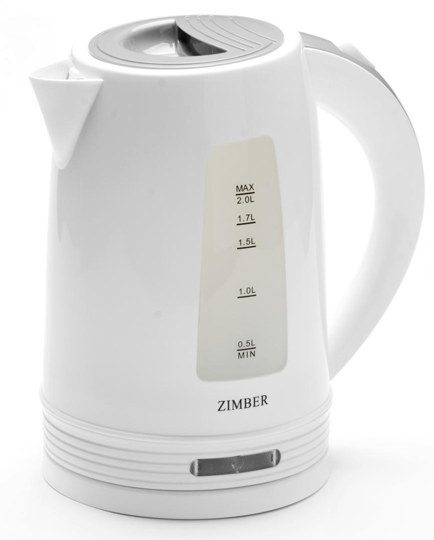 Zimber ZM-11108 электрический чайник11108Электрический чайник Zimber сочетает в себе надежность, качество и приятный внешний вид. Выполненный из качественного термостойкого пластика (ПП), чайник оснащен скрытым нагревательным элементом из нержавеющей стали, что очень удобно, так как он более долговечен, чем спираль, и не подвержен образованию накипи. Благодаря этому электрочайнику Вам не нужно ждать, пока вода закипит на плите - чайник сделает это всего за несколько секунд, а стильный вид чайника украсит интерьер любой кухни! Беспроводной чайник имеет базу с антискользящим покрытием и вращается на 360 градусов. Чайник сохранит температуру воды на долгое время, что позволяет снизить расход электричества. Благодаря прозрачной шкале-индикатору можно следить за уровнем воды в чайнике. Для безопасного использования в чайнике предусмотрена тройная защита от ожога паром, функции автоматического отключения при отсутствии воды или открытии крышки, а также защита от закипания без воды.