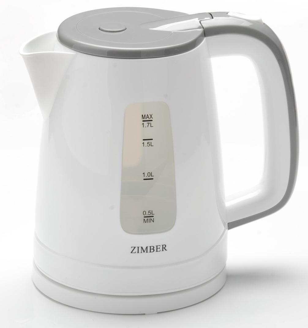 Zimber ZM-11111 электрический чайник11111Электрический чайник Zimber сочетает в себе надежность, качество и приятный внешний вид. Выполненный из качественного термостойкого пластика (ПП), чайник оснащен скрытым нагревательным элементом из нержавеющей стали, что очень удобно, так как он более долговечен, чем спираль, и не подвержен образованию накипи. Благодаря этому электрочайнику Вам не нужно ждать, пока вода закипит на плите - чайник сделает это всего за несколько секунд, а стильный вид чайника украсит интерьер любой кухни! Беспроводной чайник имеет базу с антискользящим покрытием и вращается на 360 градусов. Чайник сохранит температуру воды на долгое время, что позволяет снизить расход электричества. Благодаря прозрачной шкале-индикатору можно следить за уровнем воды в чайнике. Для безопасного использования в чайнике предусмотрена тройная защита от ожога паром, функции автоматического отключения при отсутствии воды или открытии крышки, а также защита от закипания без воды.