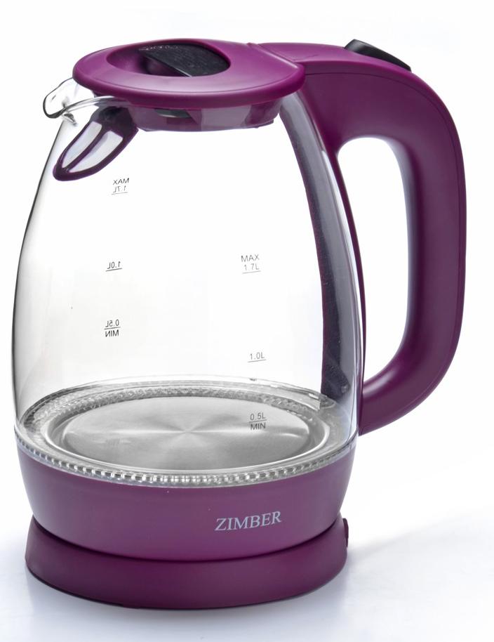 Zimber ZM-11176 электрический чайник11176Корпус электрического чайника Zimber выполнен из высококачественного термостойкого стекла, сохраняющего природные свойства воды и цветного термостойкого пластика. Благодаря большой мощности чайник за считанные минуты вскипятит воду. Прозрачный корпус со шкалой контроля уровня воды. Чайник соединен с базой центральным контактом и легко вращается на 360 градусов. Крышка чайника открывается автоматически от легкого нажатия на кнопку. Нагревательный элемент чайника встроен в плоское дно и надежно защищен стальной пластиной, что делает его чистку максимально удобной. Среди характеристик безопасности использования чайника стоит отметить автоматический и ручной выключатель, а также защиту от перегрева.