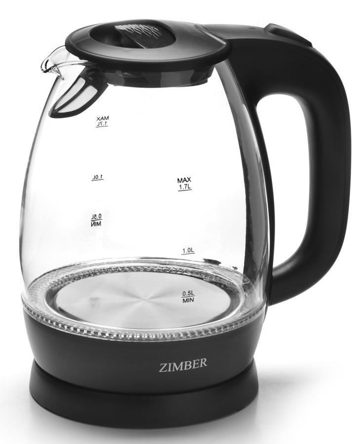 Zimber ZM-11180 электрический чайник11180Корпус электрического чайника Zimber выполнен из высококачественного термостойкого стекла, сохраняющего природные свойства воды и цветного термостойкого пластика. Благодаря большой мощности чайник за считанные минуты вскипятит воду. Прозрачный корпус со шкалой контроля уровня воды и внутренней подсветкой, позволяет следить за процессом нагрева. Чайник соединен с базой центральным контактом и легко вращается на 360 градусов. Крышка чайника открывается автоматически от легкого нажатия на кнопку. Нагревательный элемент чайника встроен в плоское дно и надежно защищен стальной пластиной, что делает его чистку максимально удобной. Среди характеристик безопасности использования чайника стоит отметить автоматический и ручной выключатель, а также защиту от перегрева.