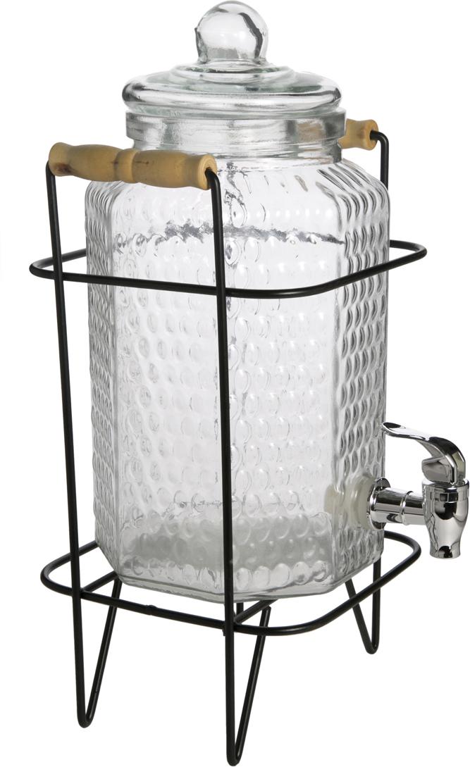 """Емкость для напитков """"Magic Home"""" выполнена из прозрачного стекла и снабжена крышкой.  Предназначена для любых напитков.  Размер 16 х 33 х 16 см. Имеется кран для слива. Не рекомендуется мыть в посудомоечной машине."""