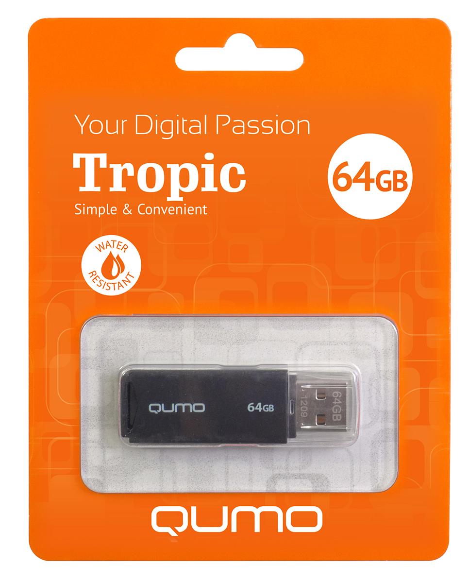 QUMO Tropic 64GB, Black USB-накопитель23850Qumo Tropic 16GB - это оригинальная флешка с интерфейсом подключения USB 2.0. Она поможетвам хранить при себе важные данные, куда бы вы не отправились. Данная модель выполнена излегких материалов и имеет небольшой вес.