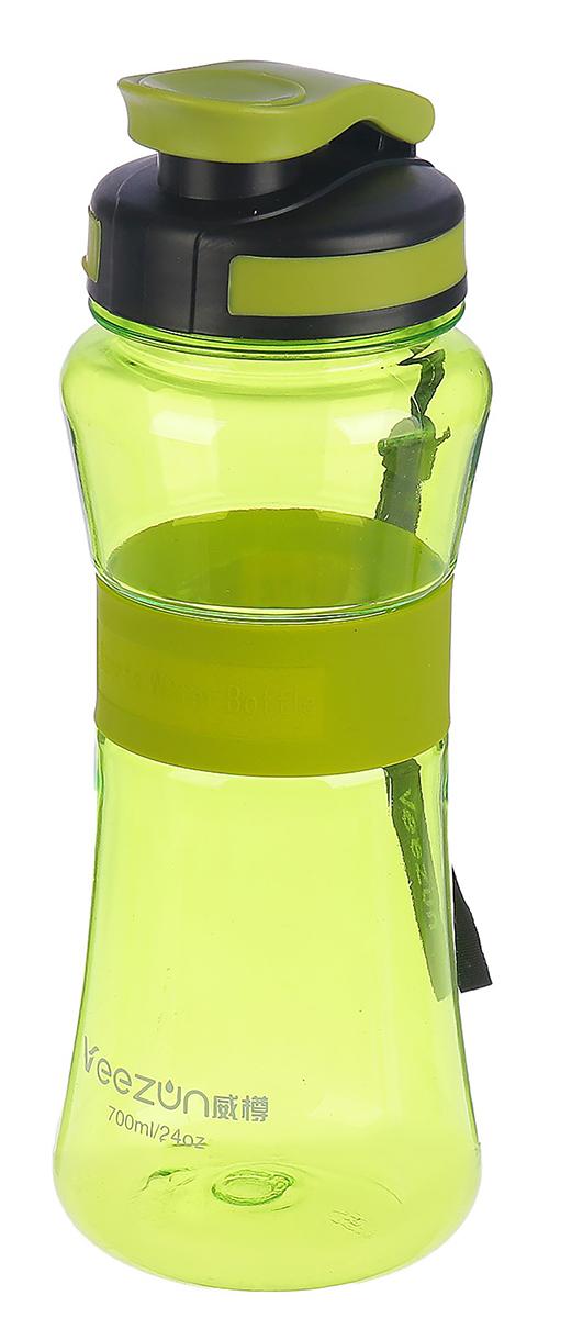 Бутылка спортивная, со шнурком и резиновой вставкой, цвет: зеленый, 700 мл бутылка гантеля спортивная irontrue цвет зеленый 2 2 л