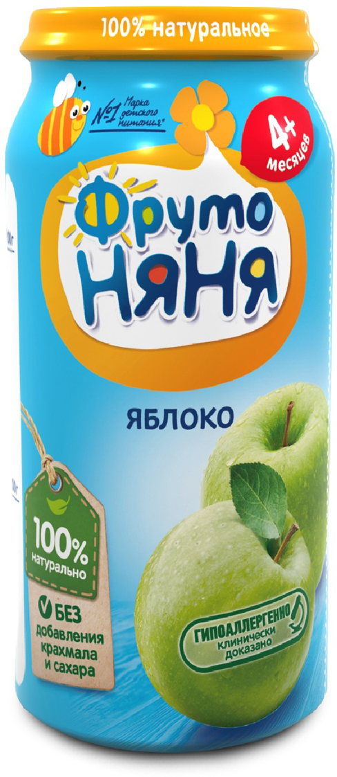 ФрутоНяня пюре из яблок с 4 месяцев, 250 г фрутоняня сок из яблок и груш 25 шт по 0 5 л