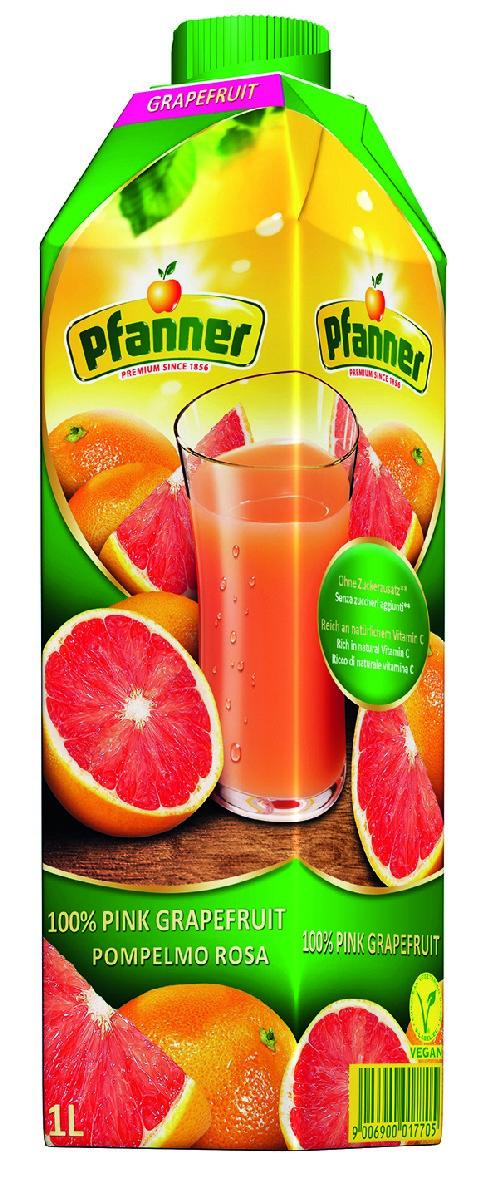 Pfanner Сок розовый грейпфрут, 1 л желтый полосатик сушеный каждый день 40г