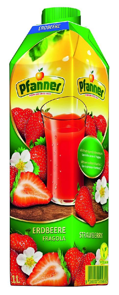Pfanner Напиток клубника с мякотью, 1 л непоседа нектар яблочный с мякотью 1 л