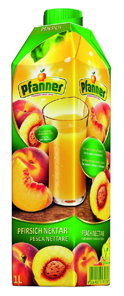 Pfanner Нектар персик, 1 л231018Персик «Pfanner» насыщен ароматом зрелых фруктов и бархатным, мягким, полным вкусом благодаря большому количеству натурального персикового пюре. Деликатный баланс сладости и кислоты идеально утолит жажду и станет основой для летних освежающих коктейлей.