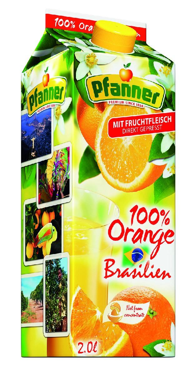 Pfanner Сок бразильский апельсин прямого отжима, 2 л поло print bar апельсиновый сок