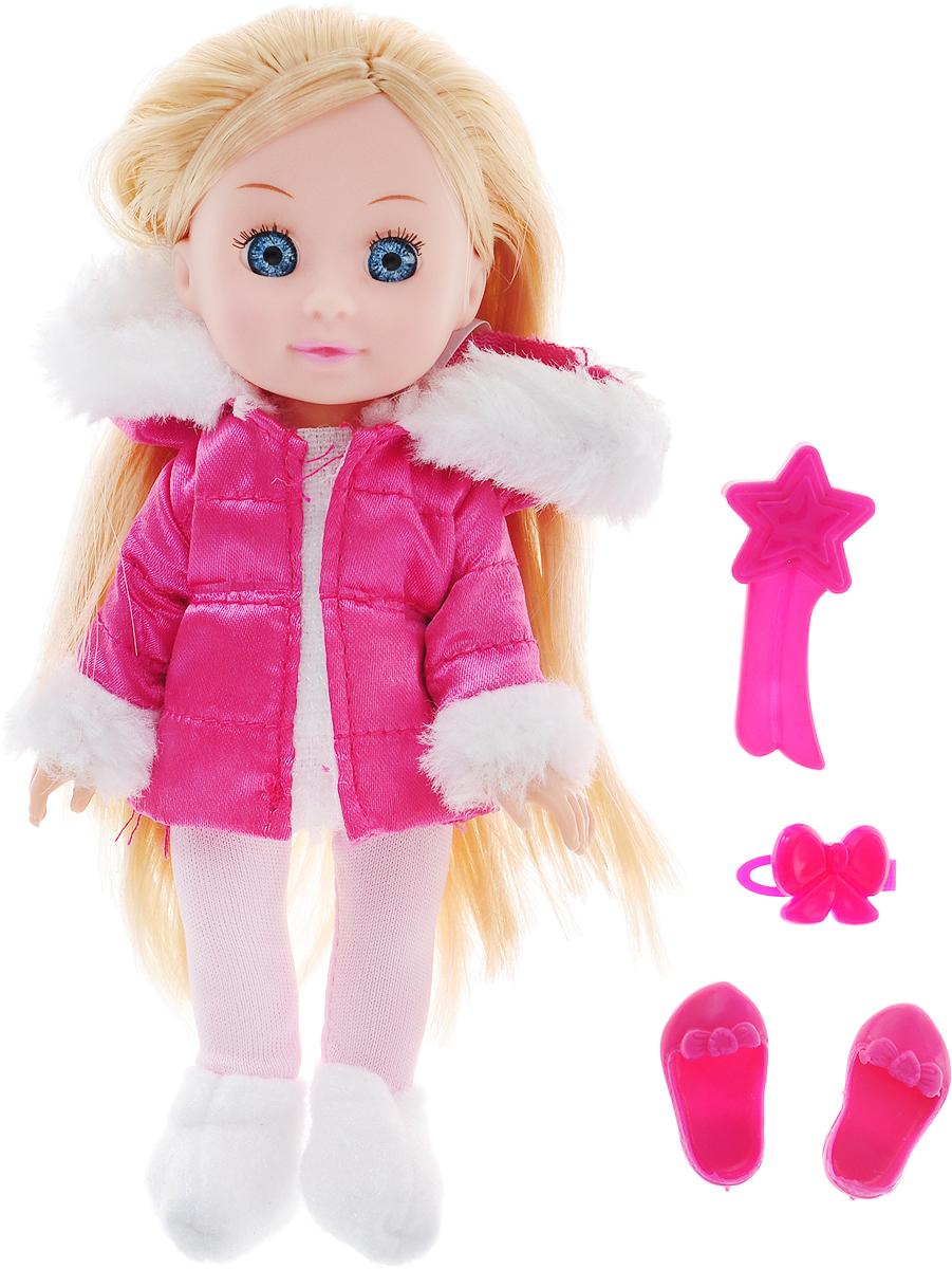 Карапуз Кукла озвученная Машенька в зимней одежде с аксессурами цвет наряда розовый карапуз кукла рапунцель со светящимся амулетом 37 см со звуком принцессы дисней карапуз