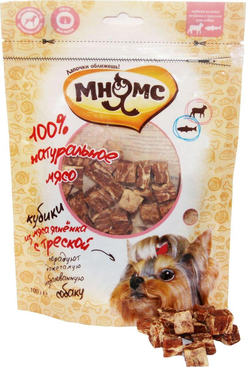 """Лакомство для собак """"Мнямс"""", кубики из мяса ягненка с треской, 100 г"""