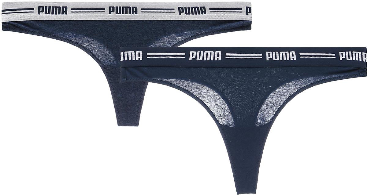 Трусы-стринги женские Puma Iconic, цвет: темно-синий, 2 пары. 90706606. Размер XL (48/50) игровая форма puma трусы футбольные puma esito shorts slip 70100102