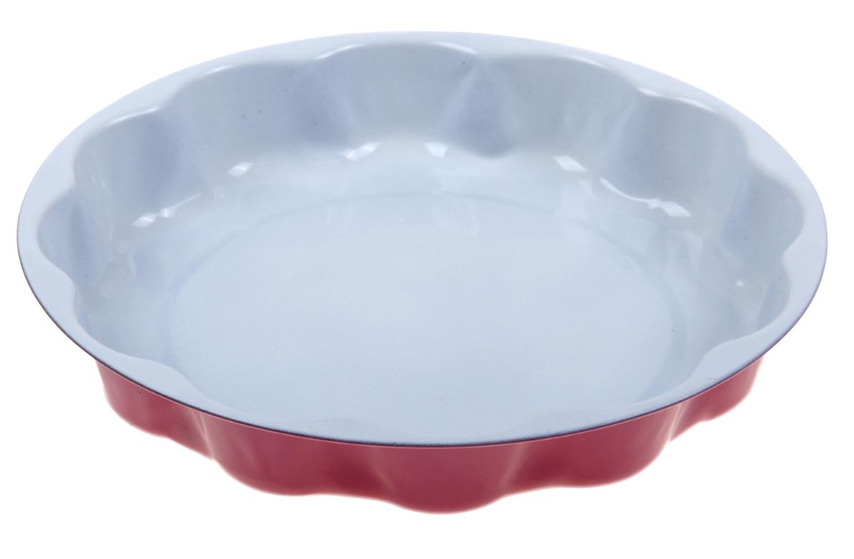 Форма для выпечки Доляна Волнистый круг. Флери, с керамическим покрытием, цвет: розовый, 25 х 5 см форма для выпечки доляна рифленый круг флери с керамическим покрытием цвет салатовый 27 х 3 5 см