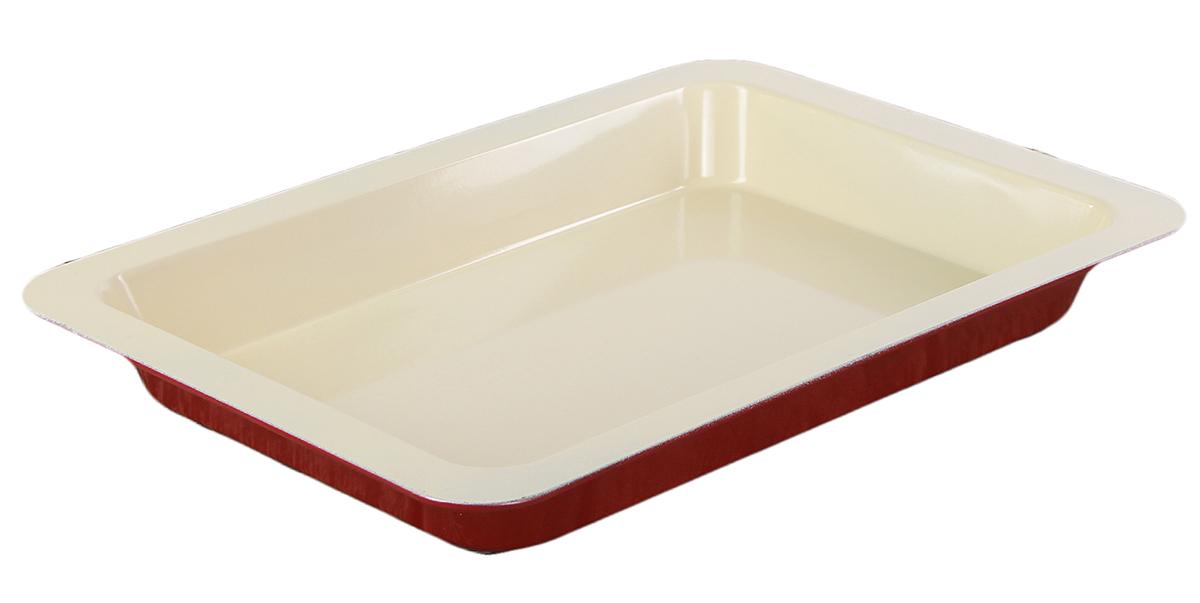 Форма для выпечки Доляна Прямоугольник. Флери, с керамическим покрытием, цвет: красный, 34 х 24 х 5 см форма для выпечки nadoba liba с антипригарным покрытием 24 х 24 х 5 см