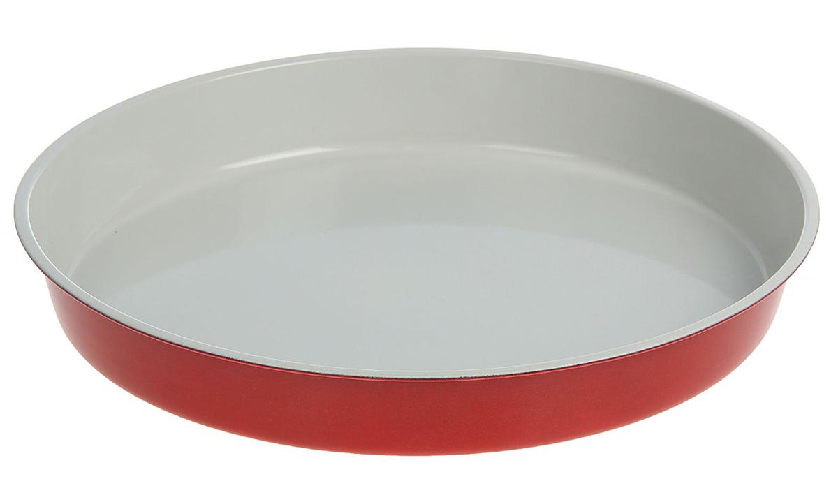 Форма для выпечки Доляна Круг. Флери, с керамическим покрытием, цвет: красный, 32 х 4,5 см форма для выпечки доляна рифленый круг флери с керамическим покрытием цвет салатовый 27 х 3 5 см