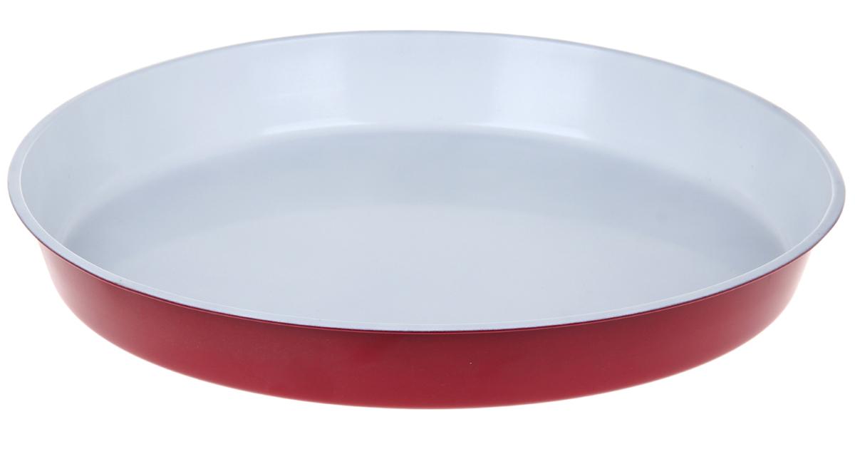Форма для выпечки Доляна Круг. Флери, с керамическим покрытием, цвет: красный, 36 х 4,5 см форма для выпечки доляна рифленый круг флери с керамическим покрытием цвет салатовый 27 х 3 5 см