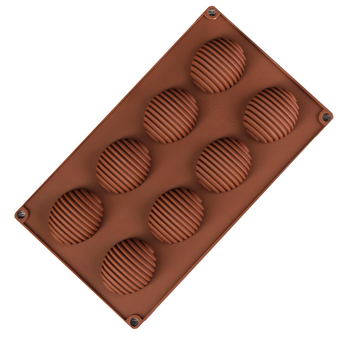 Форма для выпечки Доляна Улей, силиконовая, цвет: коричневый, 28 х 17 х 1,5 см, 8 ячеек форма для выпечки nadoba mila силиконовая 6 ячеек 29 х 17 х 3 7 см 762017