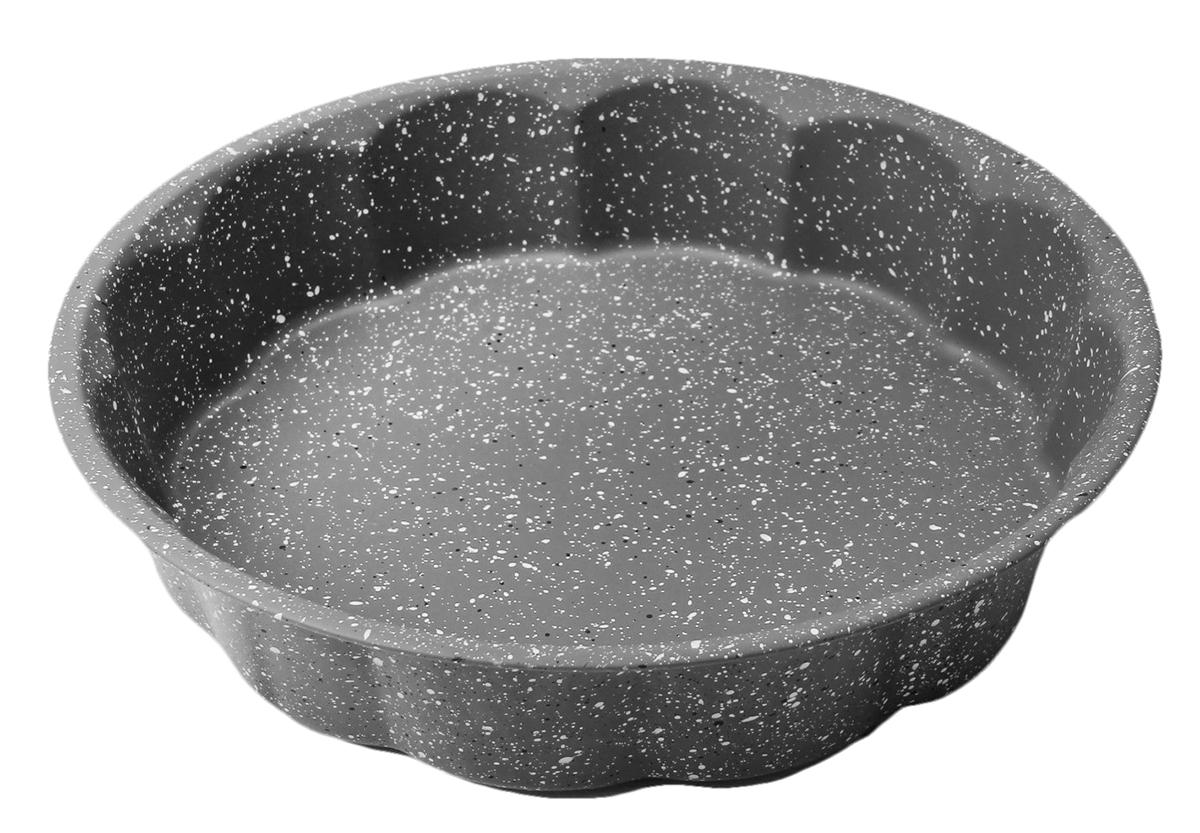 Форма для выпечки Доляна Волнистый круг. Мрамор, с антипригарным покрытием, цвет: черный, 28 х 6 см форма для выпечки nadoba с антипригарным покрытием 37 х 27 х 6 см