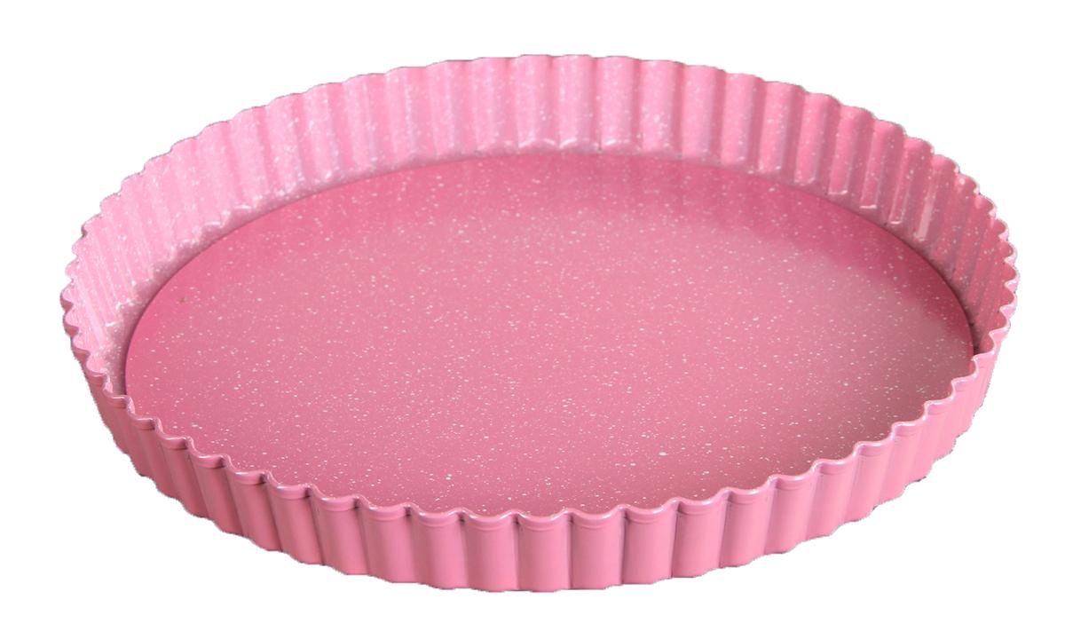 Форма для выпечки Доляна Мраморный зефир. Рифленый круг, с антипригарным покрытием, со съемным дном, цвет: розовый, 24 х 2,4 см2798205От качества посуды зависит не только вкус еды, но и здоровье человека. Форма для выпечки — товар, соответствующий российским стандартам качества. Любой хозяйке будет приятно держать его в руках.