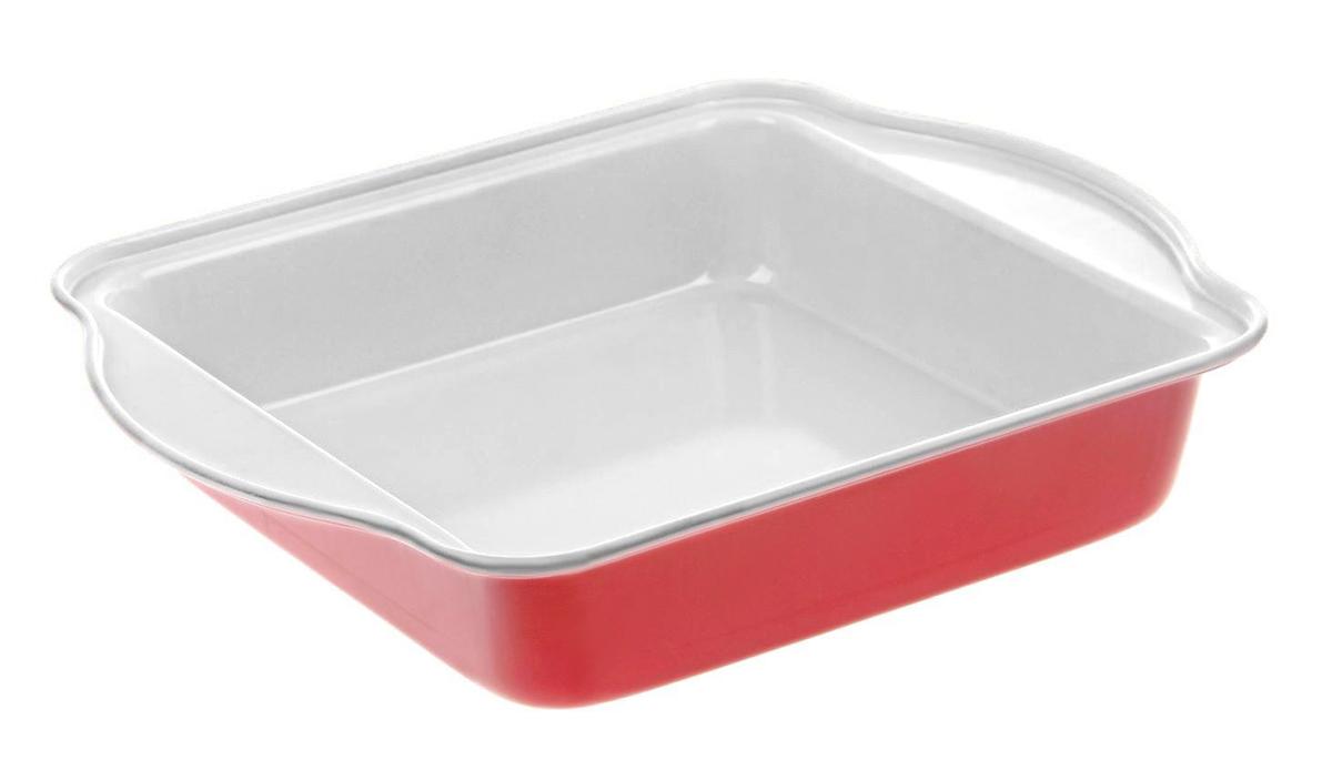 """Форма для выпечки Доляна """"Квадрат. Флери"""", с керамическим покрытием, цвет: красный, 27 х 22 х 4,5 см"""