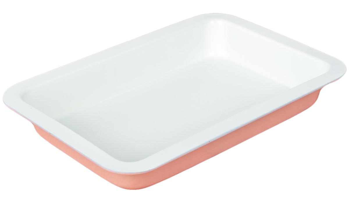 Форма для выпечки Доляна Прямоугольник. Флери, с керамическим покрытием, цвет: розовый, 34 х 21 х 5 см форма для выпечки доляна рифленый круг флери с керамическим покрытием цвет салатовый 27 х 3 5 см
