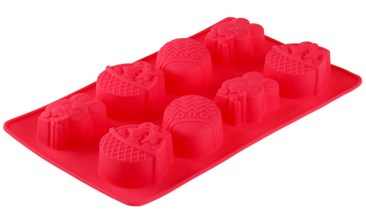 Форма для выпечки Доляна Пасха, силиконовая, цвет: красный, 29 х 17 см, 8 ячеек114031_красныйОт качества посуды зависит не только вкус еды, но и здоровье человека. Форма для выпечки — товар, соответствующий российским стандартам качества. Любой хозяйке будет приятно держать его в руках.