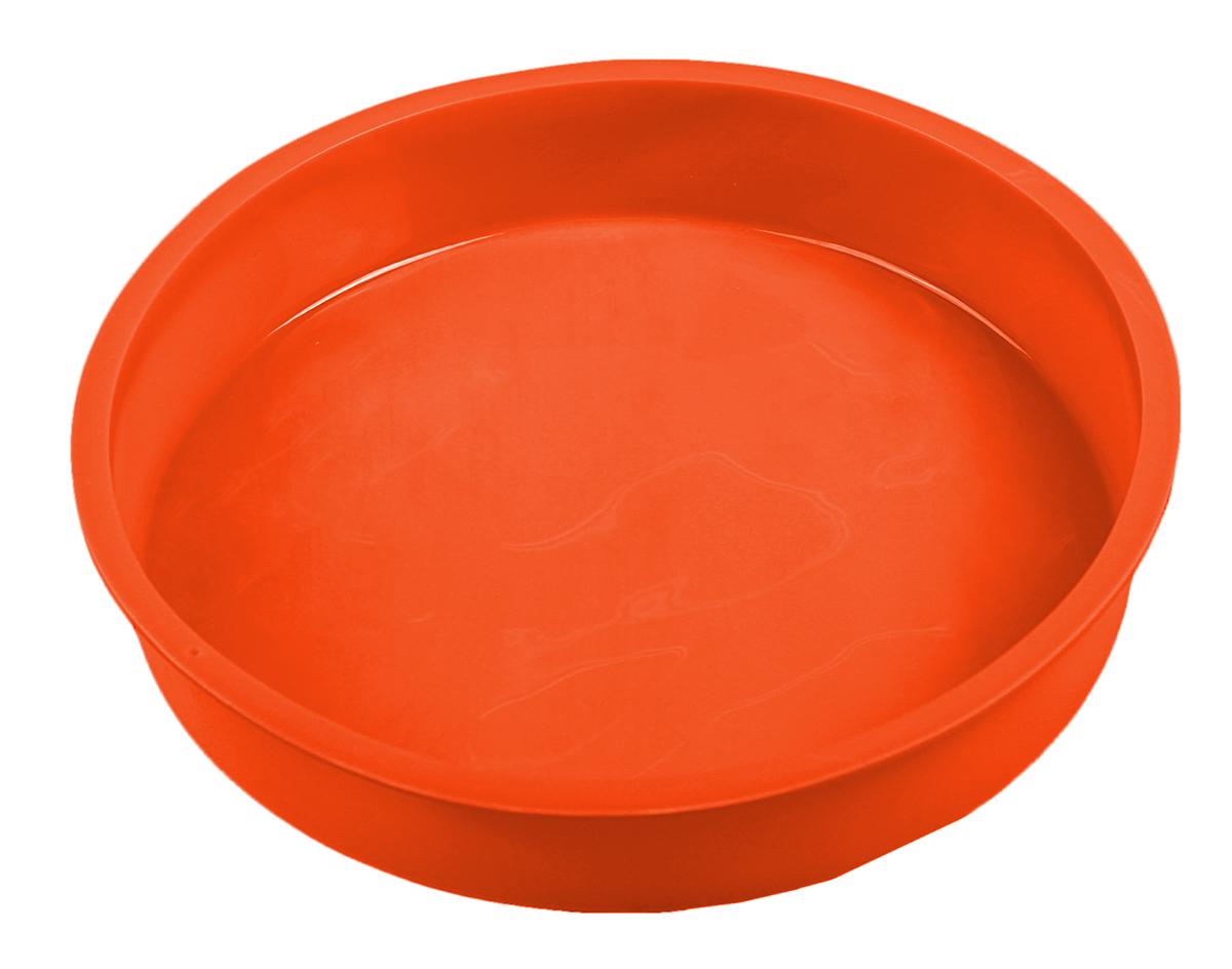 Форма для выпечки Доляна Круг, силиконовая, цвет: оранжевый, 28 х 4,5 см1057135_оранжевыйОт качества посуды зависит не только вкус еды, но и здоровье человека. Форма для выпечки — товар, соответствующий российским стандартам качества. Любой хозяйке будет приятно держать его в руках.