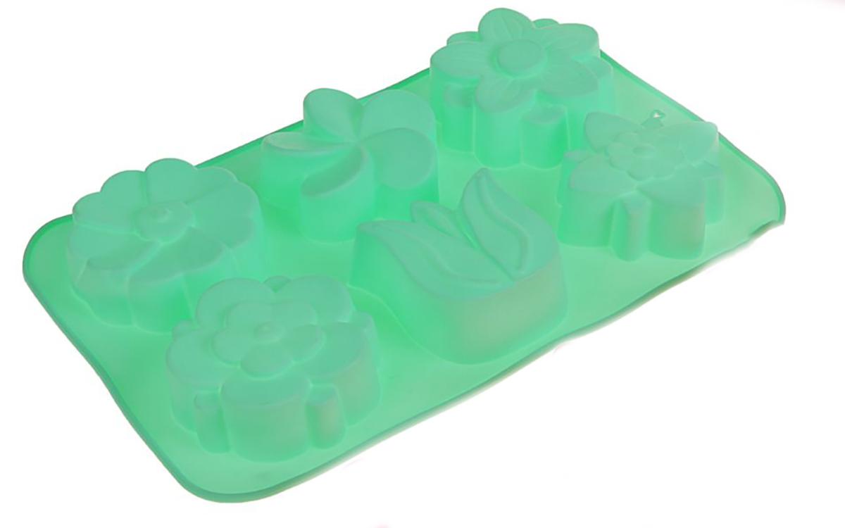 Форма для выпечки Доляна Колокольчик, незабудка, силиконовая, цвет: бирюзовый, 26 х 17 х 3 см, 6 ячеек форма для выпечки nadoba mila силиконовая 6 ячеек 29 х 17 х 3 7 см 762017