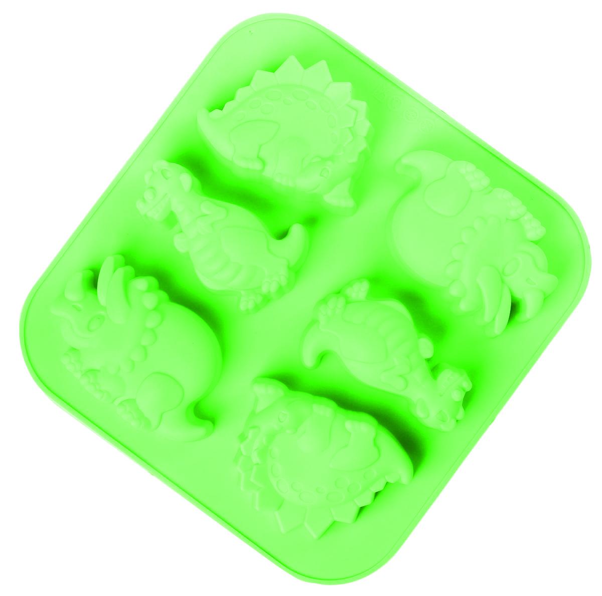 Форма для выпечки Доляна Носорог, крокодил, динозавр, силиконовая, цвет: зеленый, 27,8 х 26,9 х 3,6 см, 6 ячеек2798197_зеленыйОт качества посуды зависит не только вкус еды, но и здоровье человека. Форма для выпечки — товар, соответствующий российским стандартам качества. Любой хозяйке будет приятно держать его в руках.