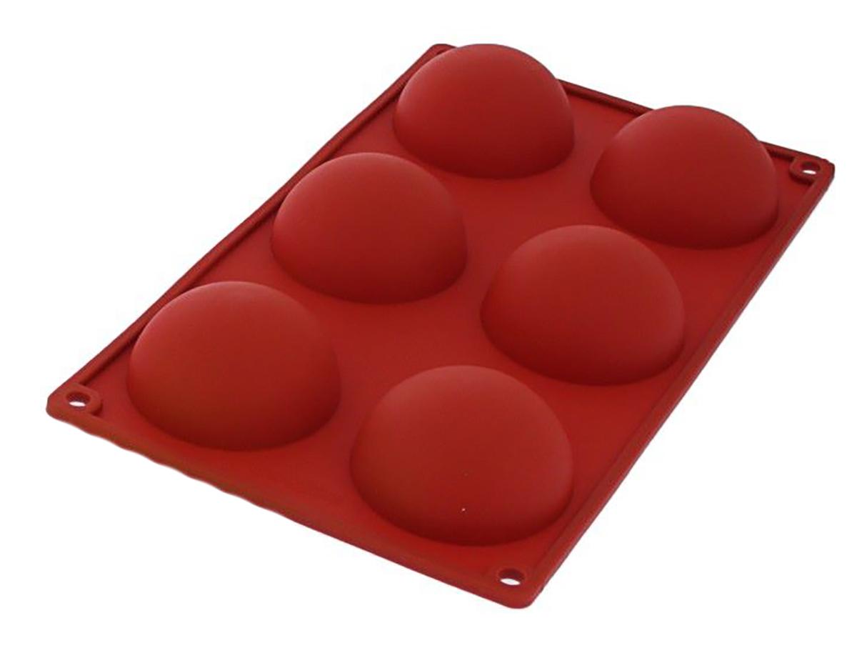 Форма для выпечки Доляна Полусфера, силиконовая, цвет: красный, 27 х 18 х 3,5 см, 6 ячеек1687530_красныйОт качества посуды зависит не только вкус еды, но и здоровье человека. Форма для выпечки — товар, соответствующий российским стандартам качества. Любой хозяйке будет приятно держать его в руках.