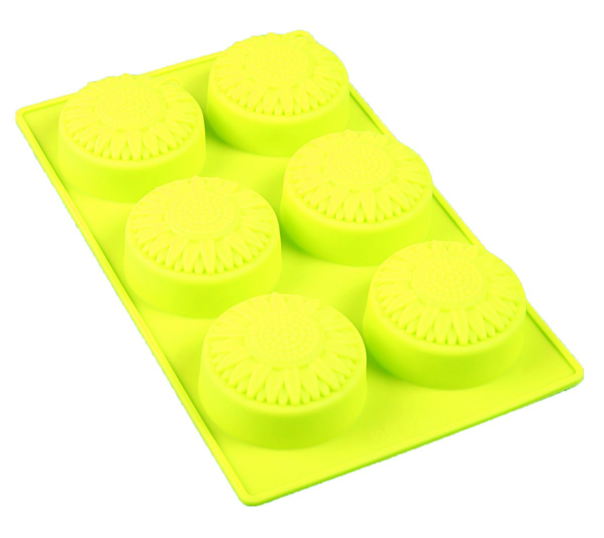 Форма для выпечки Доляна Подсолнух, силиконовая, цвет: желтый, 28 х 17 см, 6 ячеек форма для выпечки nadoba mila силиконовая 6 ячеек 29 х 17 х 3 7 см 762017