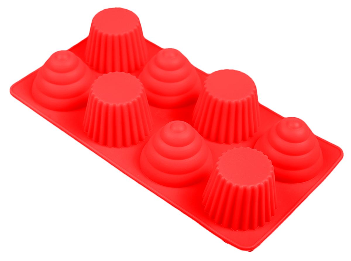 Форма для выпечки Доляна Пирамидки, силиконовая, цвет: красный, 28 х 14,5 х 4 см, 8 ячеек форма для выпечки nadoba mila силиконовая 6 ячеек 29 х 17 х 3 7 см 762017