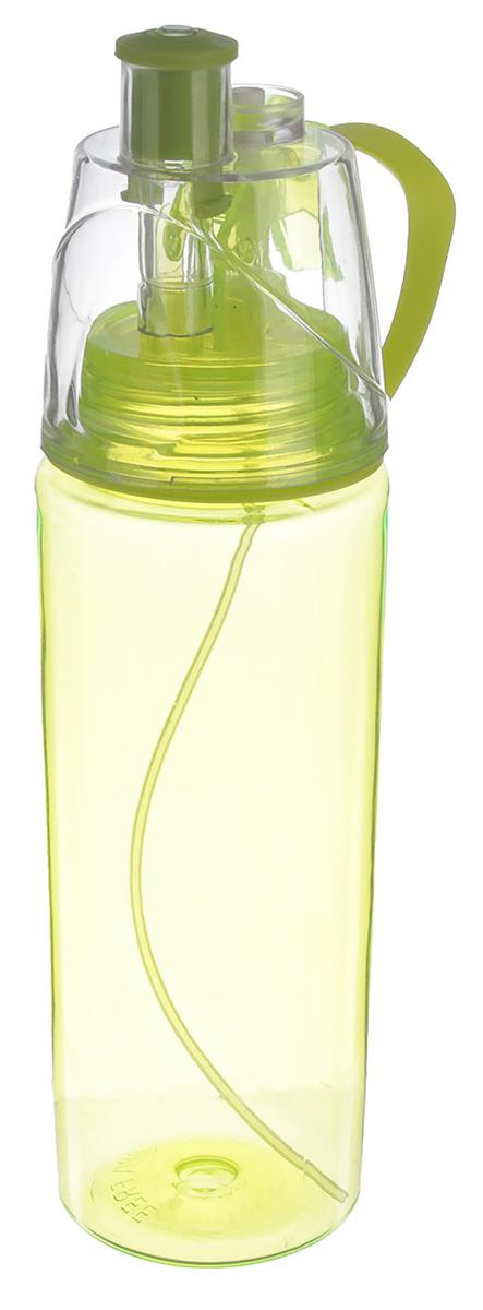 Бутылка спортивная, с пульверизатором и трубочкой, цвет: зеленый, 700 мл. 2381527 бутылка гантеля спортивная irontrue цвет зеленый 2 2 л