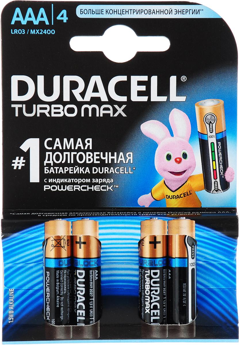 Фото - Батарейка щелочная Duracell LR03-4BL Turbo, тип ААА, 4 шт внешний аккумулятор для портативных устройств hiper circle 500 blue circle500blue