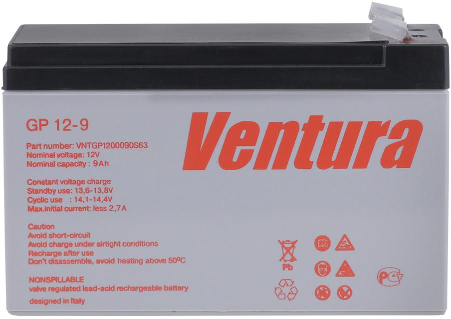 Ventura GP 12-9 аккумуляторная батарея для ИБПGP 12-9Технология изготовления Герметизированные свинцово-кислотные аккумуляторы Ventura серии GP изготавливаются по технологии AGM (технология AGM – аккумуляторы с жидким электролитом, впитанным в стекловолоконный сепаратор). Особенности конструкции В аккумуляторах используются намазные положительные и отрицательные пластины. Отличительной особенностью пластин данного типа является простота конструкции, низкое внутреннее сопротивление, быстрое восстановление емкости. Решетки пластин изготовлены из свинцового сплава с улучшенными эксплуатационными характеристиками. Корпуса аккумуляторов изготовлены из высококачественного пластика (ABS-акрилбутадиенстирол).Технические характеристики Аккумуляторы серии GP производятся в виде моноблоков на номинальное напряжение 6 и 12 Вольт в диапазоне емкостей от 1,2 до 100 Ач, они предназначены для эксплуатации, как в режиме постоянного подзаряда, так и в циклическом режиме. Напряжение постоянного подзаряда должно поддерживаться в диапазоне 2,27-2,3 В/элемент (при 25°С). Возможен монтаж аккумуляторов как в горизонтальном, так и в вертикальном положении. Установка на крышку (клеммами вниз) не допускается. Срок службы аккумуляторов серии GP составляет 5 лет. Область применения Аккумуляторы серии GP - это экономичное решение для широкого диапазона применений. Данные аккумуляторы используются для комплектования батарей, используемых в качестве источников постоянного тока на объектах связи, производства и распределения электроэнергии, в источниках бесперебойного питания, в системах безопасности, видеонаблюдения, контроля и управления доступом, на железной дороге, в нефтегазовой отрасли и в других областях промышленности.