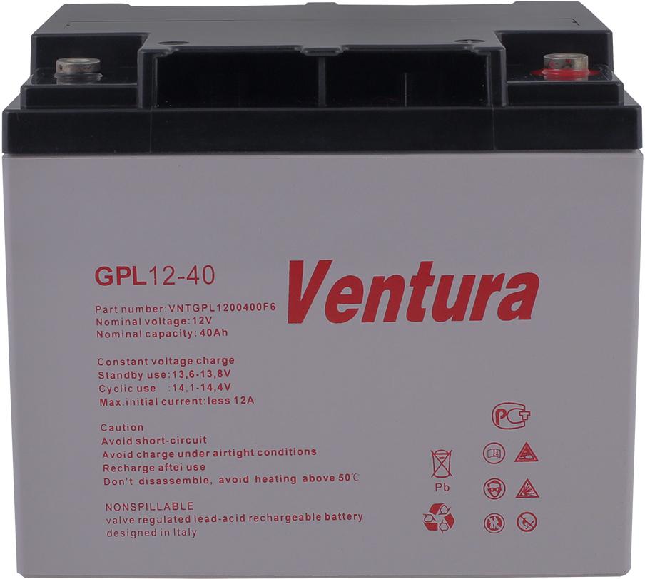 Ventura GPL 12-40 аккумуляторная батарея для ИБПGPL 12-40Технология изготовления Герметизированные свинцово-кислотные аккумуляторы Ventura серии GPL производятся по технологии AGM (технология AGM – аккумуляторы с жидким электролитом, впитанным в стекловолоконный сепаратор). Стекловолоконный сепаратор аккумуляторов серии GPL изготавливается из боросиликатного стекла, что обеспечивает повышенную пористость сепаратора, а также его высокую устойчивость к воздействию высоких температур и серной кислоты. Применяемые клапаны избыточного давления поддерживают внутри корпуса необходимое давление для протекания реакции рекомбинации (рекомбинация - взаимодействие высвобождающихся при заряде кислорода и водорода с образованием молекул воды). Коэффициент рекомбинации аккумуляторов серии GPL составляет более 99%, что исключает потери воды в процессе заряда. В связи с этим аккумуляторы не требуют долива дистиллированной воды и измерения плотности электролита на протяжении всего срока эксплуатации. Особенности конструкции В аккумуляторах используются намазные положительные и отрицательные пластины. Отличительной особенностью пластин данного типа является простота конструкции, низкое внутреннее сопротивление, быстрое восстановление емкости. Решетки пластин изготовлены из свинцового сплава, содержащего компоненты, обеспечивающие механическую прочность решетки, низкое газовыделение в процессе заряда и высокую коррозионную устойчивость. Специальные присадки в электролит обеспечивают легкий заряд аккумулятора даже после глубокого разряда. Корпуса аккумуляторов изготовлены из высококачественного пластика (ABS-акрилбутадиенстирол). Особенностью конструкции аккумуляторов серии является повышенная прочность корпуса, что значительно увеличивает срок службы и препятствует деформации пластин. Возможен заказ аккумуляторов с корпусами стандартной (НВ) или повышенной (V0) огнестойкости Технические характеристики Аккумуляторы серии производятся в виде моноблоков на номинальное напряжение 12 Вольт 